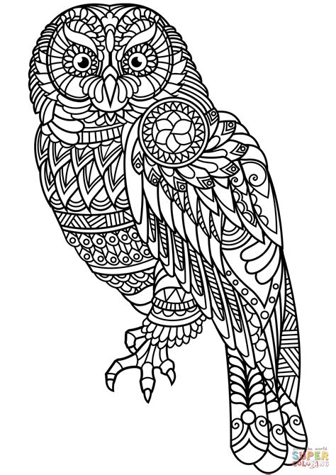 Owl Zentangle coloring page | Free Printable Coloring Pages