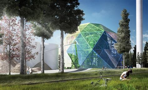 bjarke ingels group proposes crystalline dome for power plant