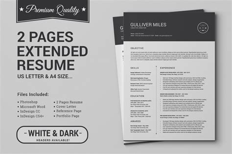 2 Pages Resume CV   Extended Pack ~ Resume Templates on