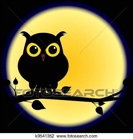 Silhouette of owl on branch with full moon Clipart