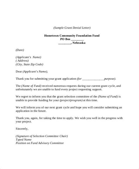 6+ Grant Rejection Letters - Free Sample, Example Format